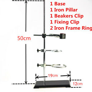50cm Laboratory Stand Support Bracket Flask Condenser Ring Base Clamp Clip Set