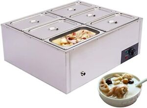 Commercial Food Warmer Steam Table 6 pot Stainless Steel 110v Sliver Electric