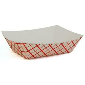 1 Lb Red Plaid Paper Food Tray