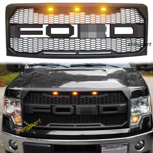 For 2009 2014 Ford F150 Raptor Style Front Bumper Grille W Led Grill Matte Black