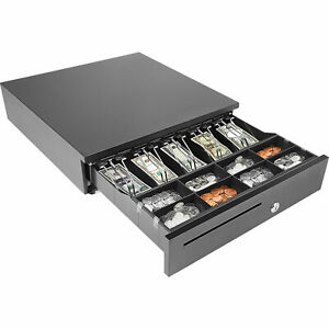 Cash Drawer Electronic Point Of Sale Removable Money Tray 5 Bill 8 Coins