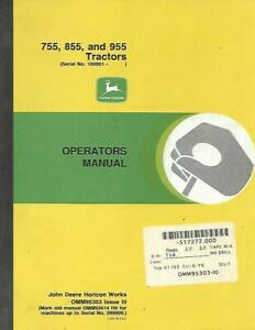 John Deere 755 855 And 955 Tractors Operators Manual