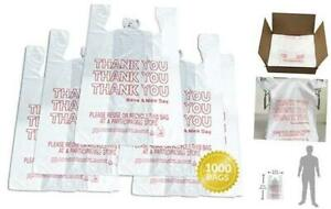 Thank You T shirt Bags 1000 Count Plastic Bulk Shopping Bags