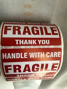 One Roll Fragile Handle With Care Stickers 2 X 3 500 Per Roll