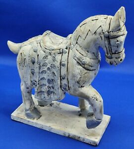 Vintage Wooden Horse On Rectangular Base Handcrafted In India 11 1 4 Tall