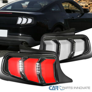 For 10 12 Ford Mustang Black Led Sequential Signal Tail Lights Brake Lamps Set