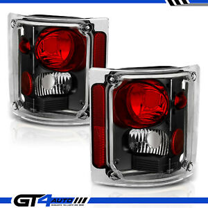 Black Clear Tail Lights Pair For 1973 1991 Chevy Gm Blazer Suburban Pickup Truck