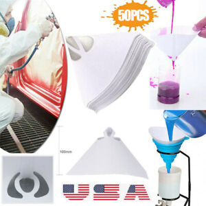50pcs Fine Paint Paper Filter Strainers Mesh Nylon Cone Cup For Spray Gun Us