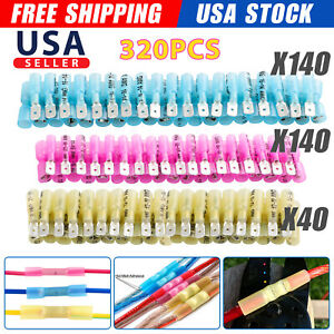 320x Heat Shrink Male female Crimp Spade Electrical Wire Connectors Terminal Kit
