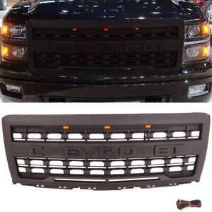 Front Grille For Chevrolet Silverado 1500 2014 2015 With 3 Amber Lights Letter