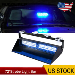 Blue Led Strobe Light Windshield Emergency Warning Hazard Flash Traffic Advisor