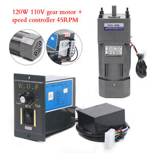 120w Ac110v Gear Motor Electric Variable Speed Controller 30k 45rpm Reversible