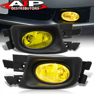 Yellow Driving Bumper Fog Lights Lamps Switch For 2003 2005 Honda Accord 4dr