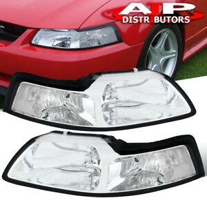 Chrome Clear Replacement Head Lights Lamps Lh Rh Set For 1999 2004 Ford Mustang
