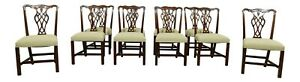 L51758ec Set Of 10 Hickory Chair Co Chippendale Mahogany Dining Chairs