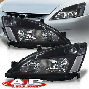 Black Clear Oe Style Replacement Head Lights Lamps For 2003 2007 Honda Accord Fits 2003 Honda Accord Coupe