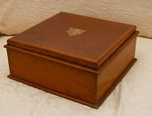 Antique Wooden Sewing Box Keepsake Jewellery Wood Box With Floral Design