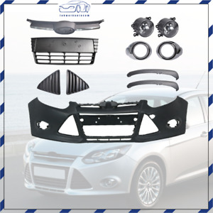 Front Bumper Cover Front Grille Fog Lights Assembly For 2012 13 14 Ford Focus