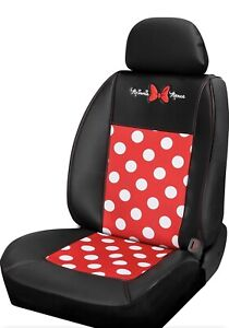 Disney Minnie Mouse Dot Sideless Seat Cover W Cargo Pocket 4 Car Truck Suv