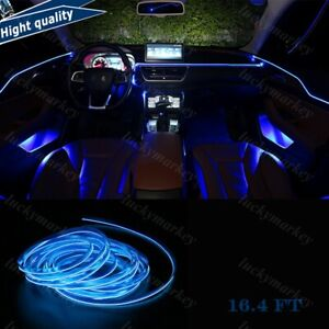 16ft Car Stunning Neon Strip El Wire Decor Atmosphere Blue Cold Light For Nissan