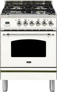 Ilve Upn60dmpbx Nostalgie 24 Dual Fuel Natural Gas In White With Chrome Trim