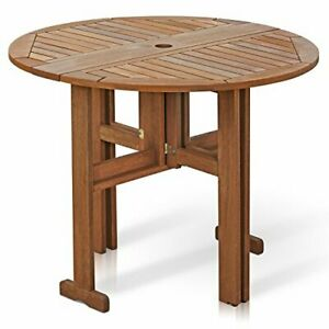 Fg17035 Tioman Hardwood Patio Furniture Gateleg Round Table In Teak Oil