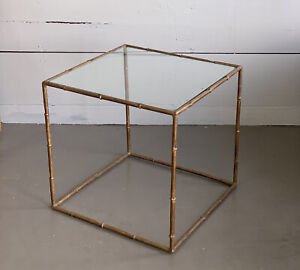 Vintage Hollywood Regency Faux Bamboo Gold Metal End Side Table