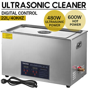 New Stainless Steel 22 L Liter Industry Heated Ultrasonic Cleaner Heater W timer