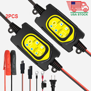 2pcs Battery Charger 6v 12v Lead acid Agm Maintainer For Car Motorcycle Rv Boat