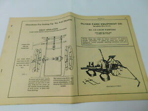 Vintage Oliver Superior 9 d 2 row Planters Operating Instructions Manual