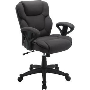 Office Chair Gray Mesh Fabric Executive Computer Desk Mid Back Seat Heavy Duty