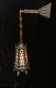 Antique Pendant Light Or Wall Sconce Victorian Tudor Gothic Medieval Lantern