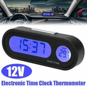 12v Lcd Auto Car Digital Led Electronic Time Clock Thermometer With Backlight