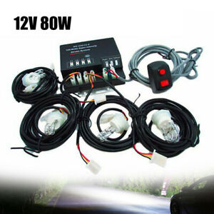 4 Hid Bulbs Hide Away Emergency Strobe Light Headlight Set Waring System 80w Us