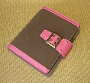 Compact Franklin Covey Pink brown Faux Leather 1 Rings Open Planner binder