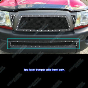 For 2005 2011 Toyota Tacoma Stainless Steel Black Bumper Mesh Rivet Studs Grille