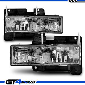 For 1988 1998 Chevy Silverado Gmc C10 C K 1500 Pickup Sierra Smoke Headlight Set