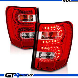 For 1999 2004 Jeep Grand Cherokee Red Led Rear Brake Replacement Tail Light Pair