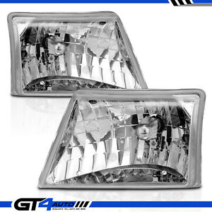 Fit 98 00 Ford Ranger Crystal Chrome Replacement Headlights Head Lamps Pair