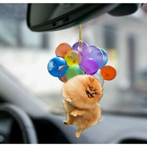 Pomeranian Fly Hanging Ornament Decor Funny Dog Car Rearview Mirror