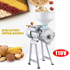 110v Electric Grinder Machine Corn Grain Wheat Cereal Feed Wet Dry Mill Funnel