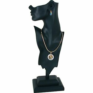 Black Mannequin Bust Necklace Pendant Earring Jewelry Display 19 1 2
