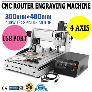 Cnc Router Engraver Machine Engraving Drilling 4 Axis 3040 Desktop Usb Mach3