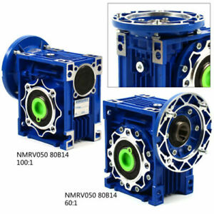 Nmrv050 Worm Gearbox Gear Reducer 80b14 Ratio 60 1 100 1 25mm Output Motor Us