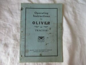 1941 Oliver 90 99 Tractor Operator s Instruction Manual