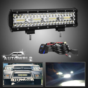 12 Inch 400w 80led Work Light Bar Spot Flood Beam Offroad Fog Driving 4wd Utv