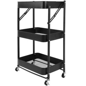 3 tier Heavy Duty Metal Rolling Utility Cart Recollection Utility Cart 4 Wheels