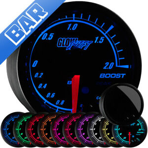 52mm Glowshift Elite 10 Color Bar Electronic Boost Vacuum Gauge