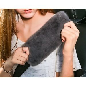 Automotive Car Seat Belt Cover Grey Faux Fur Sheepskin Comfy Soft Shoulder Pad