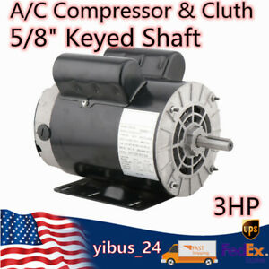 3hp Electric Motor Air Compressor Reversible One Single Phase 5 8 Keyed Shaft